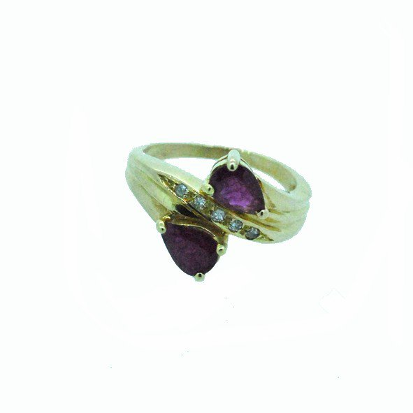 bague rubis or jaune 750/1000 3.60gr