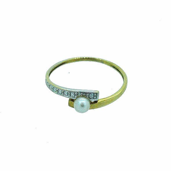 bague perle or jaune 750/100 1.00gr