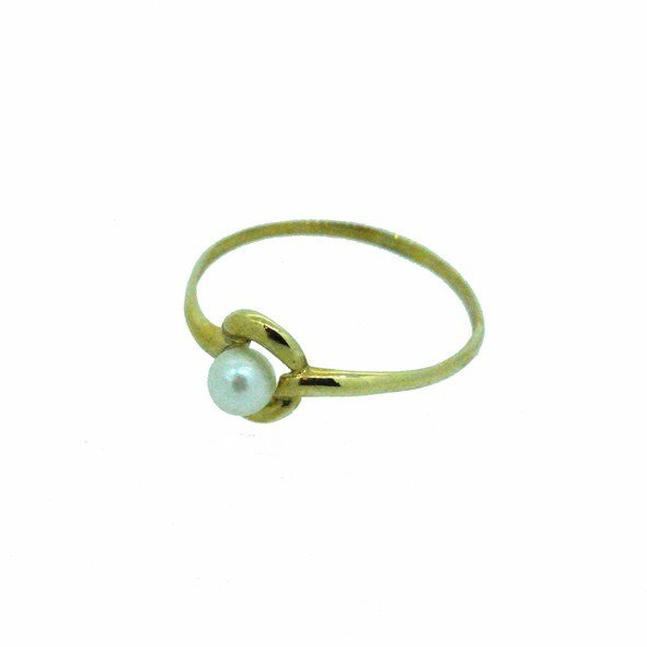 bague perle or jaune 750/1000 0.90gr