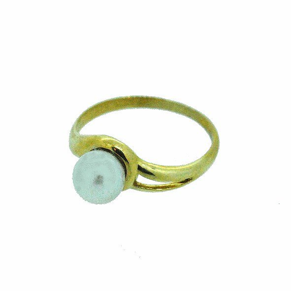 bague perle or jaune 750/1000 2.70gr