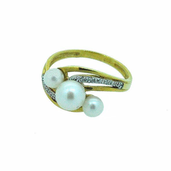 bague perle or jaune 750/1000 2.80gr