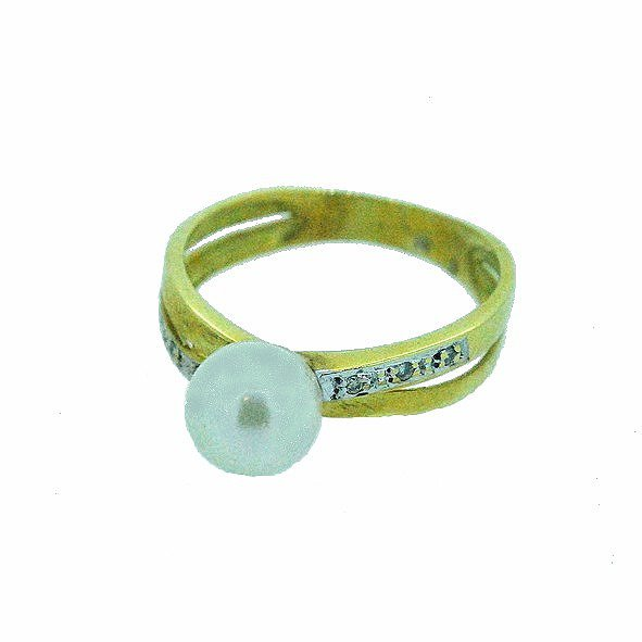 bague perle or jaune 750/1000 3.80gr