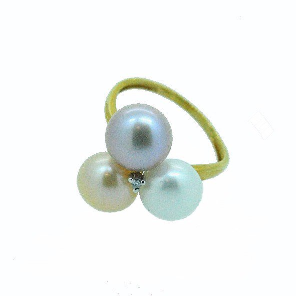 bague perle or jaune 750/1000 3.30gr