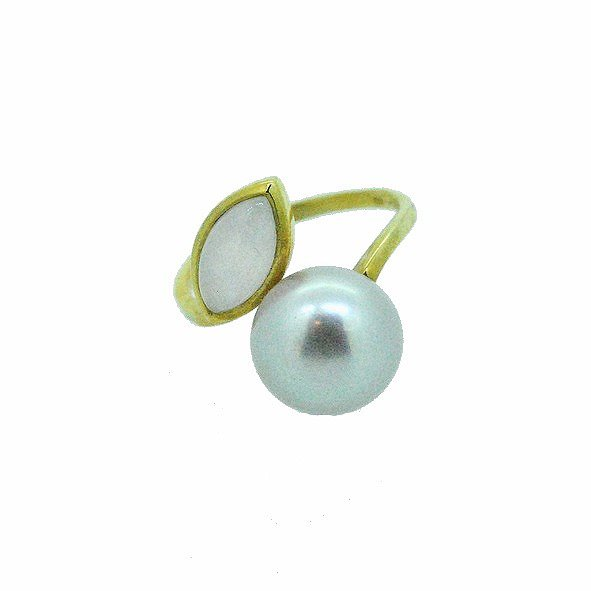 bague perle or jaune 750/1000 4.00gr