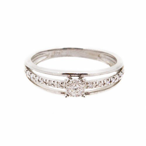 bague diamant or blanc 375/1000 2,40 gr