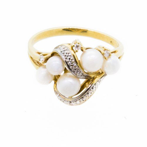 bague perle diamant or jaune 750/1000 3,60 gr