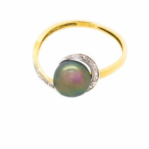 bague perle or jaune 750/1000 1,30 gr