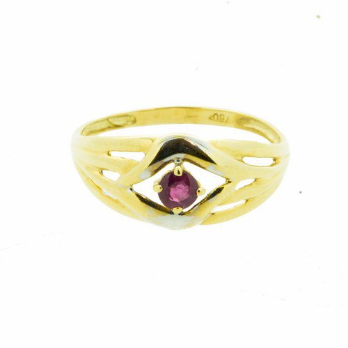 bague rubis or jaune 750/1000 1,6 gr