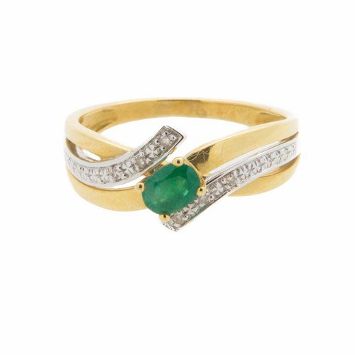bague emeraude et diamant or jaune 750/1000 3,2 gr