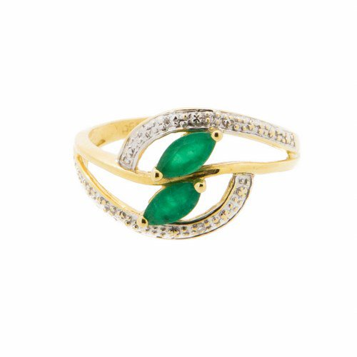 bague emeraude et diamant or jaune 750/1000 2,7 gr
